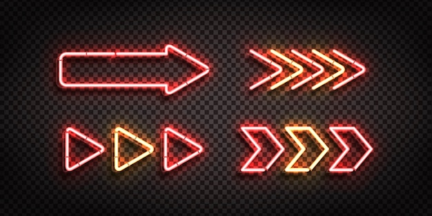Zestaw realistyczny izolowany neon znak strzałek