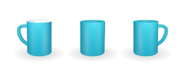 Zestaw realistyczny niebieski kubek na białym tle