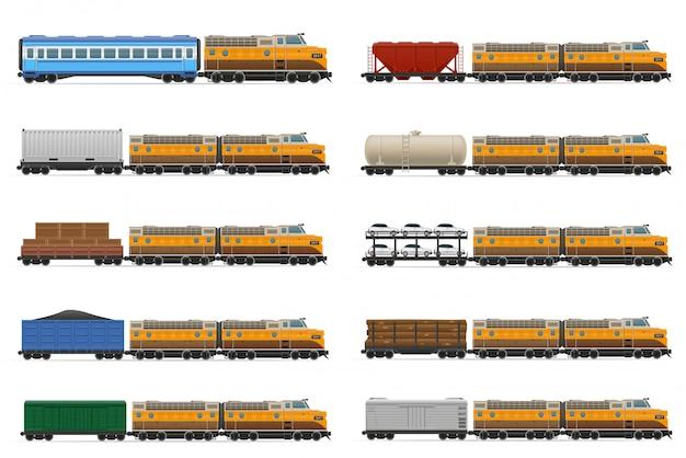 Zestaw realistyczny pociąg kolejowy z ilustracji wektorowych lokomotyw i wagonów