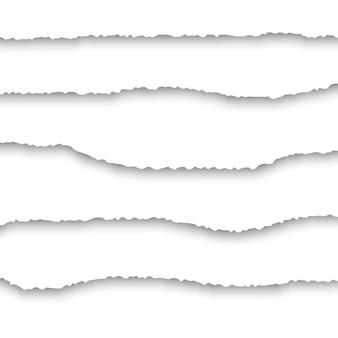 Zestaw realistyczny rozdarty papier