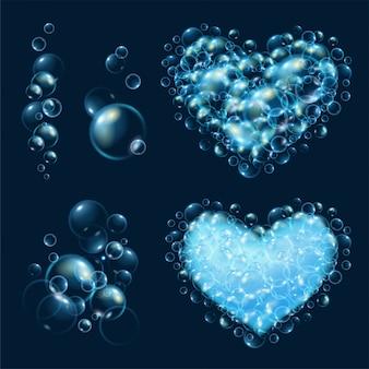 Zestaw realistycznych bąbelków wody.