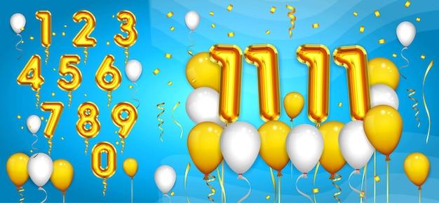 Zestaw realistycznych balonów numerycznych lub balonów lateksowych ze złotymi numerami impreza lub balony z helem urodziny