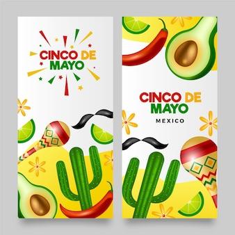 Zestaw realistycznych banerów cinco de mayo