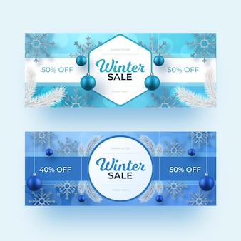 Zestaw realistycznych banerów sprzedaży zimowej