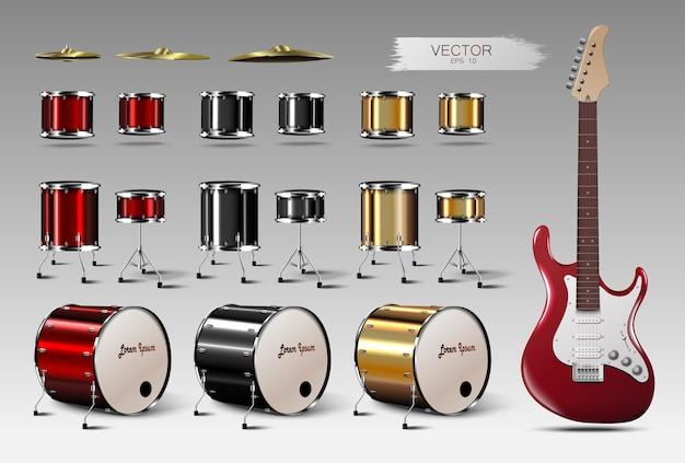 Zestaw realistycznych bębnów i gitary elektrycznej.