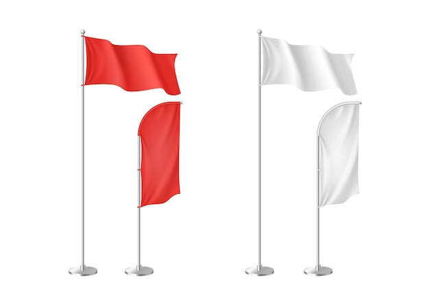 Zestaw realistycznych biało-czerwonych tekstylnych flag reklamowych na białym tle