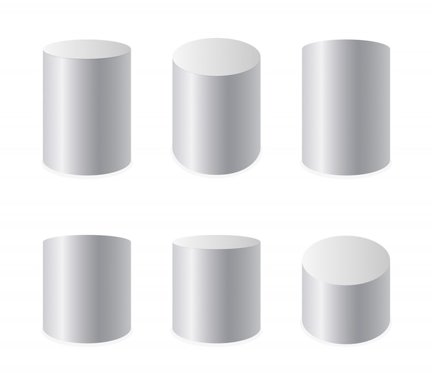 Zestaw realistycznych białych cylindrów