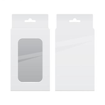 Zestaw realistycznych białych opakowań. oprogramowanie, urządzenie elektroniczne lub telefon. ilustracja