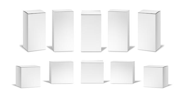 Zestaw realistycznych białych pudełek.