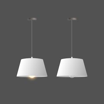 Zestaw realistycznych białych świateł. lampa sufitowa w stylu loft.