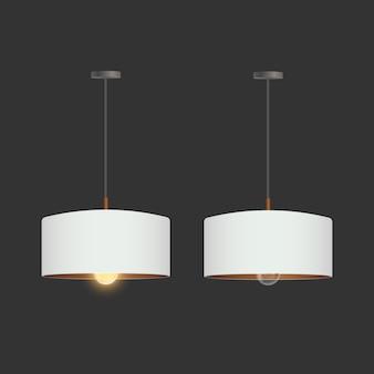Zestaw realistycznych białych świateł. lampa sufitowa w stylu loftu.