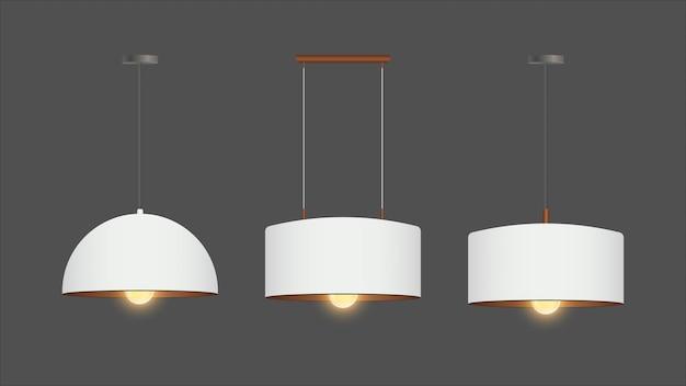 Zestaw realistycznych białych żyrandoli. świecznik jest włączony. styl loft. element wystroju wnętrza.