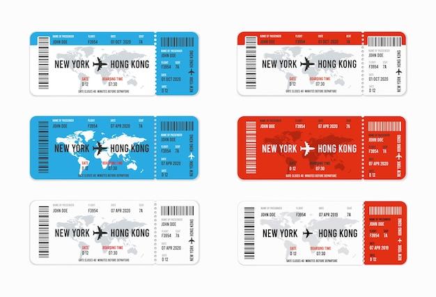 Zestaw realistycznych biletów lotniczych z nazwiskiem pasażera.