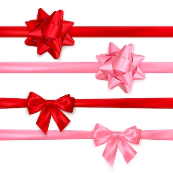 Zestaw realistycznych błyszczących kokardek w kolorze czerwonym i różowym. element dekoracji na walentynki lub inne święta. na białym tle
