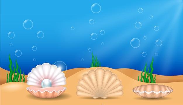 Zestaw realistycznych błyszczących pereł na białym tle