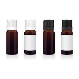 Zestaw realistycznych brązowych butelek olejku eterycznego. butelka kosmetyczna lub medyczna fiolka, kolba, ilustracja flakonu