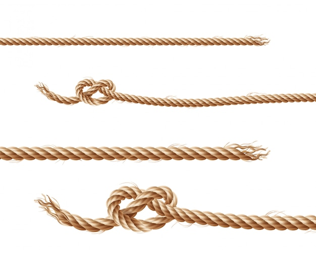 Zestaw realistycznych brązowych lin, juty lub konopnych sznurków z pętelkami i węzłami
