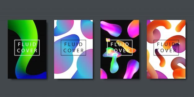 Zestaw realistycznych broszur z geometrycznymi płynnymi płynnymi kształtami gradientu do dekoracji i pokrycia na ciemnym tle.