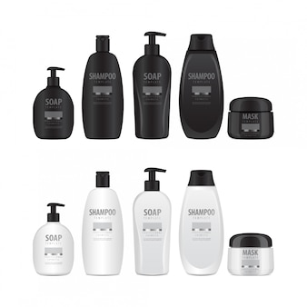 Zestaw realistycznych butelek kosmetycznych.