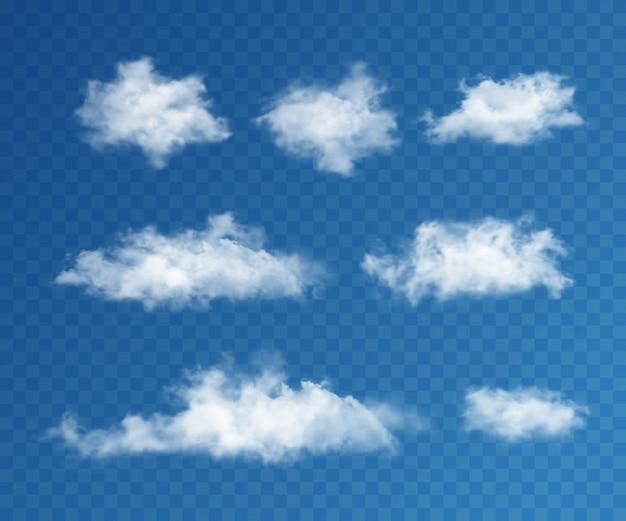 Zestaw realistycznych chmur