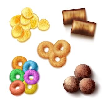 Zestaw realistycznych chrupiących płatków śniadaniowych z kolorowymi pierścieniami