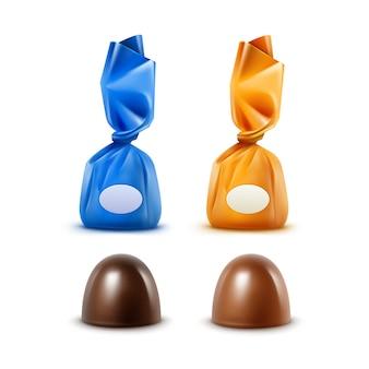 Zestaw realistycznych ciemnych czarnych gorzkich mlecznych cukierków czekoladowych w kolorowe żółte, niebieskie błyszczące folie z bliska na białym tle na białym tle