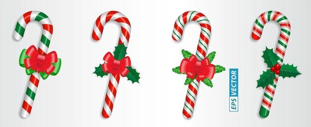 Zestaw realistycznych cukierków z trzciny cukrowej na białym tle lub skrzyżowanych słodkich cukierków związanych z kokardą lub słodyczami