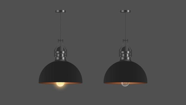 Zestaw realistycznych czarnych lamp sufitowych. styl loft. element do projektowania wnętrz.