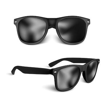 Zestaw realistycznych czarnych okularów przeciwsłonecznych na białym tle