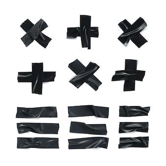 Zestaw realistycznych czarnych pomarszczonych taśm izolacyjnych. kleista szkocka na białym tle. kolekcja kawałków taśmy klejącej. ilustracja