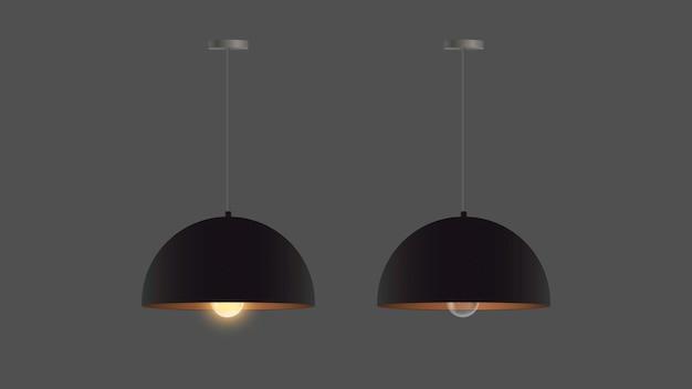 Zestaw realistycznych czarnych żyrandoli. lampa sufitowa. styl loft. element do projektowania wnętrz.