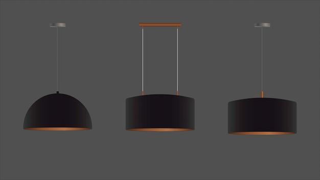 Zestaw Realistycznych Czarnych żyrandoli. Lampa Sufitowa. Styl Loft. Element Do Projektowania Wnętrz. Premium Wektorów