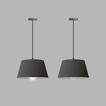 Zestaw realistycznych czarnych żyrandoli. lampa sufitowa.
