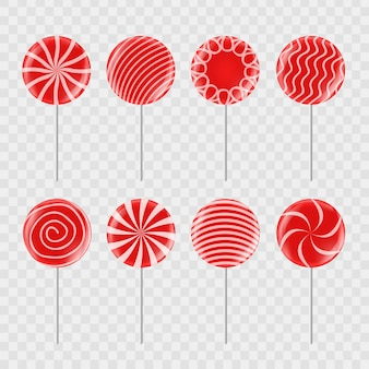 Zestaw realistycznych czerwonych cukierków na przezroczystym tle do dekoracji i przykrycia.