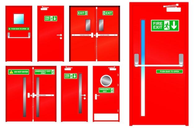 Zestaw realistycznych czerwonych drzwi ewakuacyjnych izolowanych lub czerwonych metalowych drzwi w nagłych wypadkach