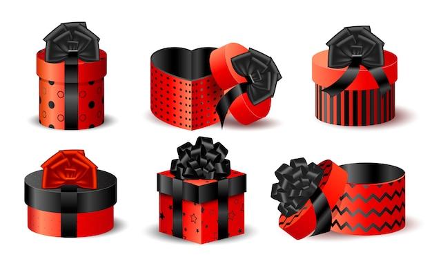 Zestaw realistycznych czerwonych pudełek do pakowania