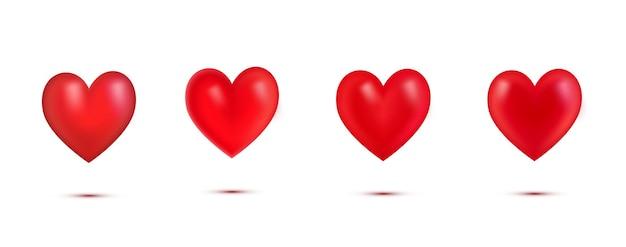 Zestaw realistycznych czerwonych serc valentine z shadow.3d serce na białym tle.simbol of love.element dla karty z pozdrowieniami na walentynki, dzień matki, ślub, kocham cię. ilustracja wektorowa.