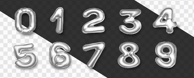 Zestaw realistycznych dekoracji numerów balonów z folii srebrnej