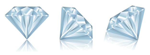 Zestaw realistycznych diamentów z odbiciem lub realistycznych diamentów z różnymi koncepcjami widoku eps