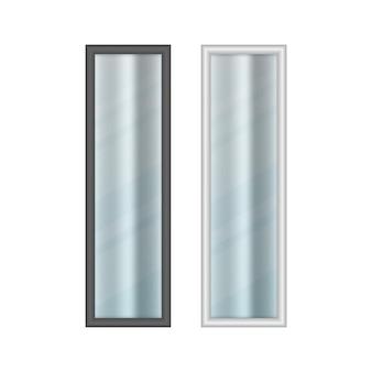 Zestaw realistycznych długich okien z zasłonami