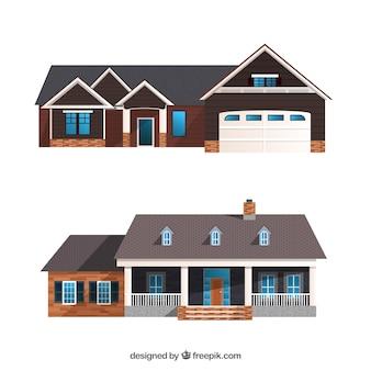 Zestaw realistycznych domów