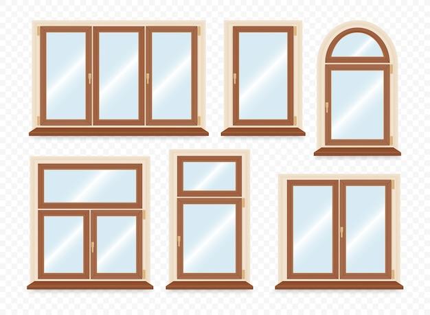 Zestaw Realistycznych Drewnianych Okien Plastikowych. Premium Wektorów