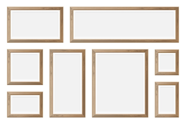 Zestaw realistycznych drewnianych ramek na zdjęcia