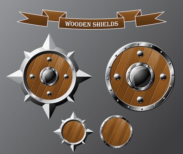 Zestaw realistycznych drewnianych tarcz na szarym tle.