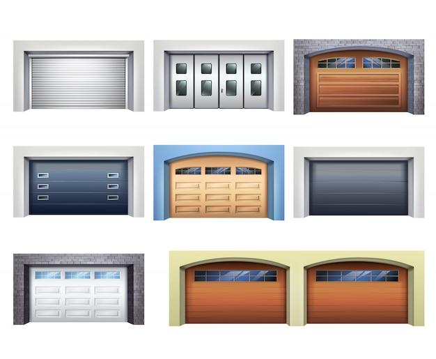 Zestaw realistycznych drzwi garażowych