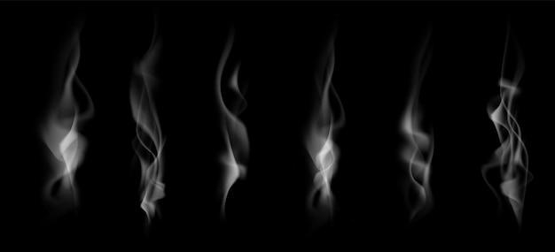 Zestaw realistycznych dymu na białym na czarnym tle. ilustracja wektorowa