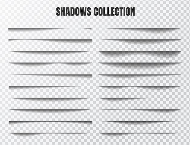 Zestaw realistycznych efektów cienia oddzielne elementy na przezroczystym tle