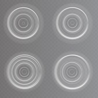 Zestaw realistycznych efektów falowania wody. ilustracja wektorowa na przezroczystym tle.