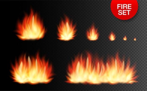 Zestaw realistycznych elementów ognia od najmniejszego ognia po wielkie ognisko