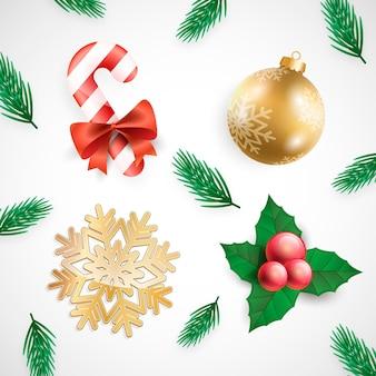 Zestaw realistycznych elementów świątecznych